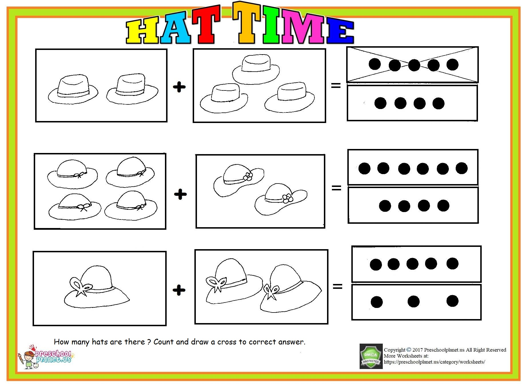 Counting hats worksheet