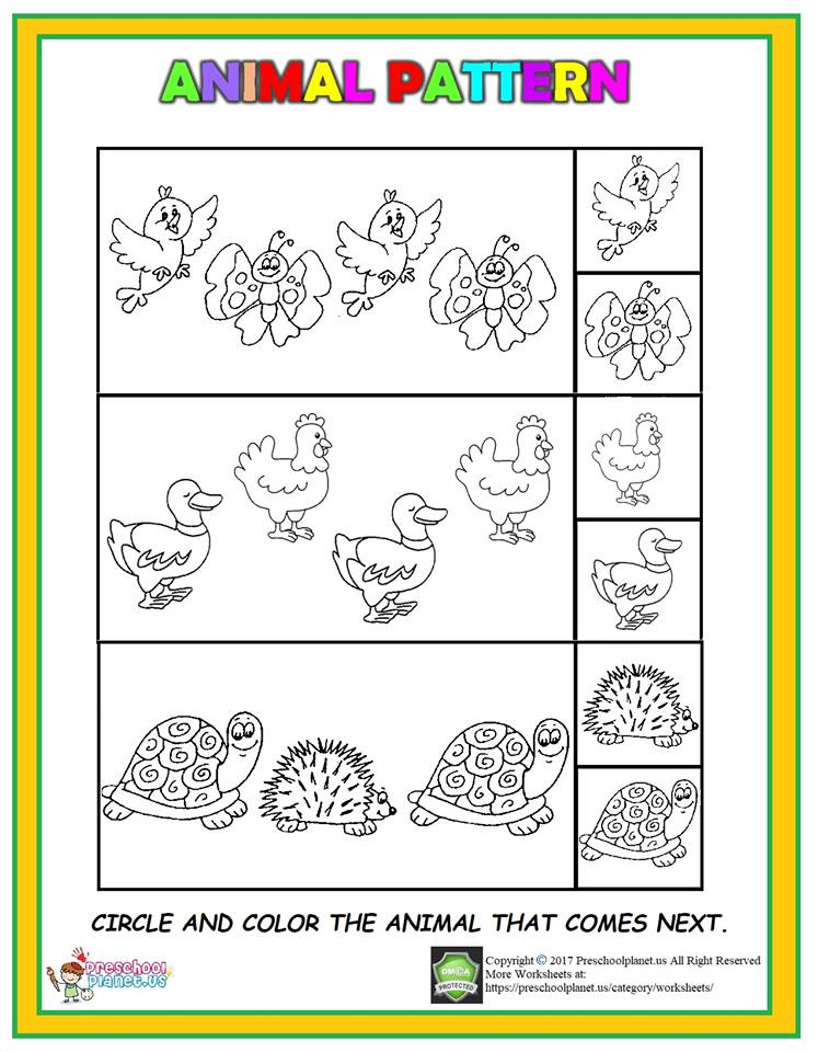animal pattern worksheet