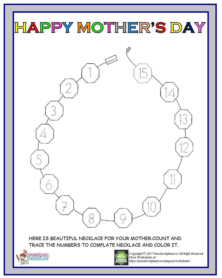 mothers day number worksheet