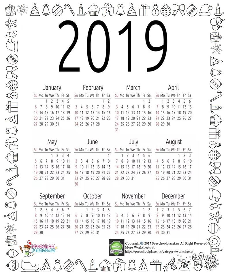 new year calendar coloring page