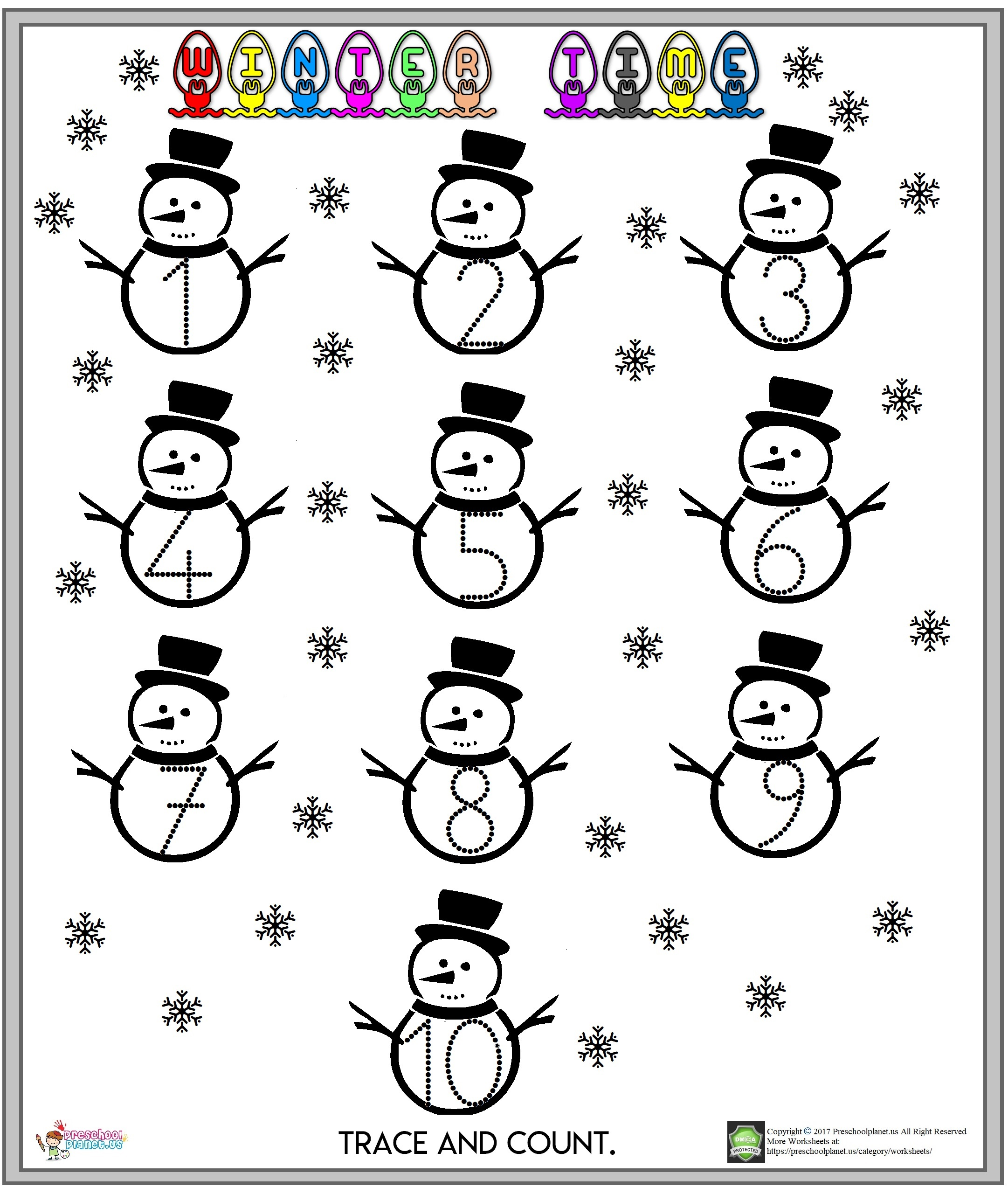 winter number worksheet