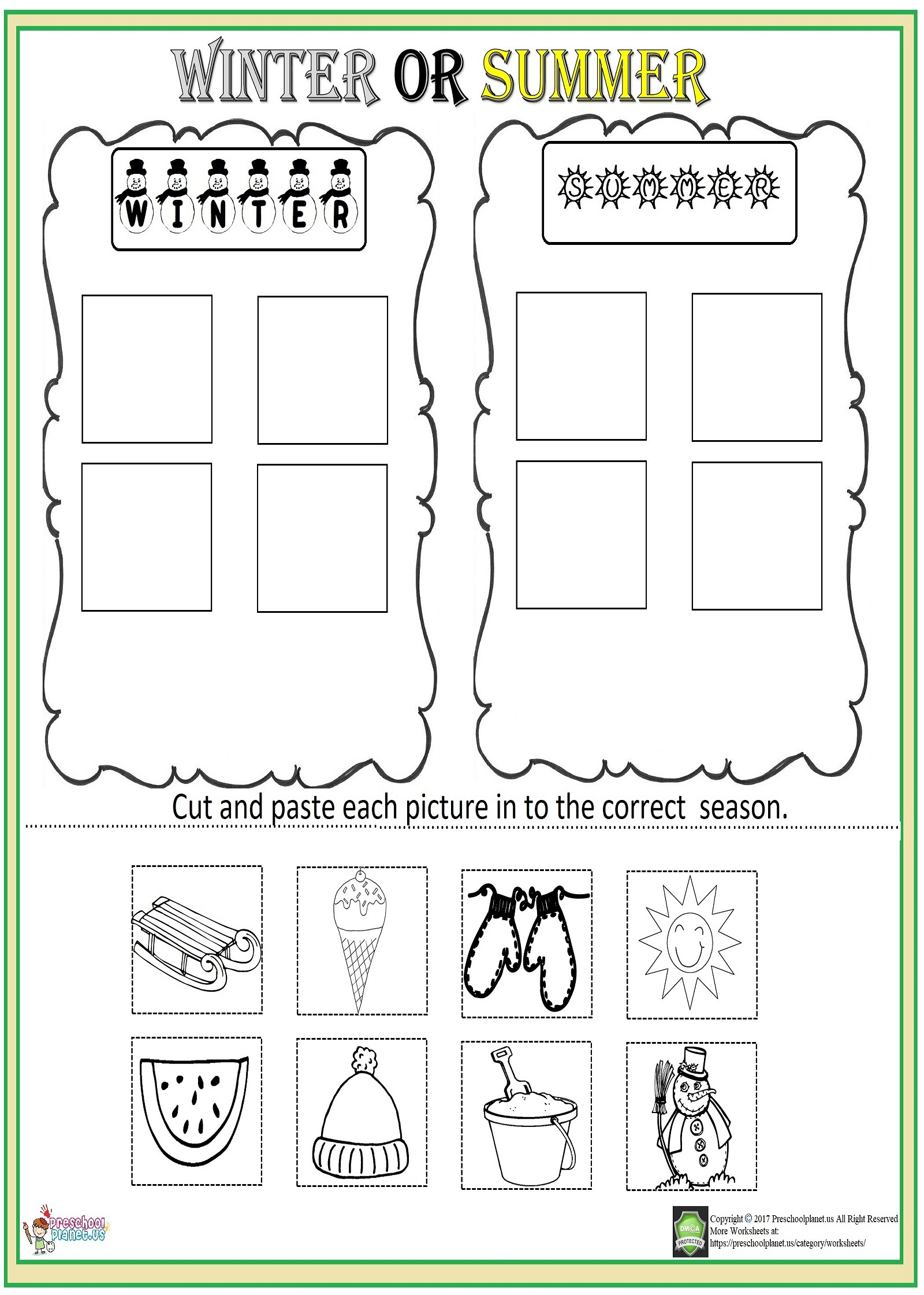 Cut And Paste Season Worksheet