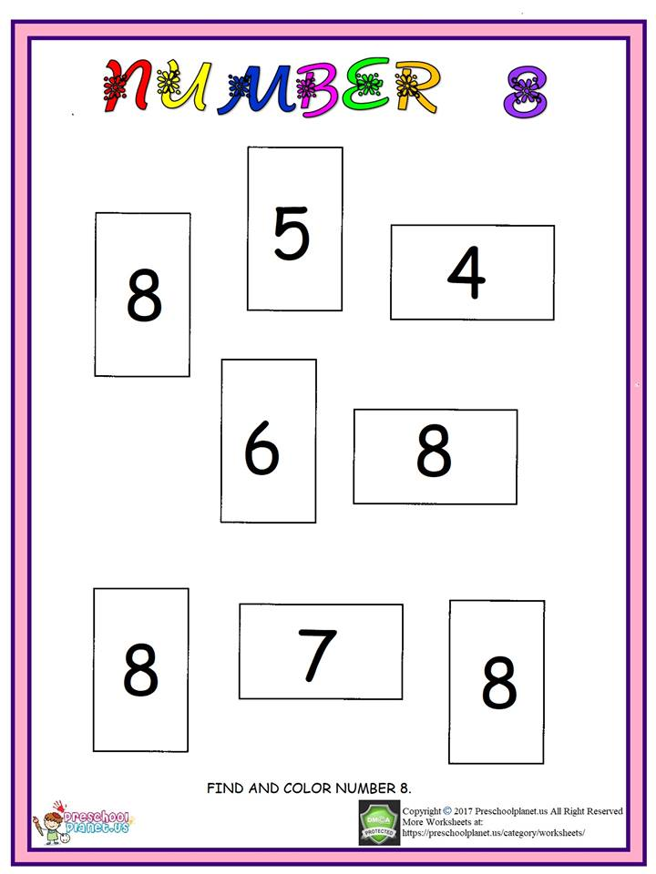 Number 8 Worksheet For Kids