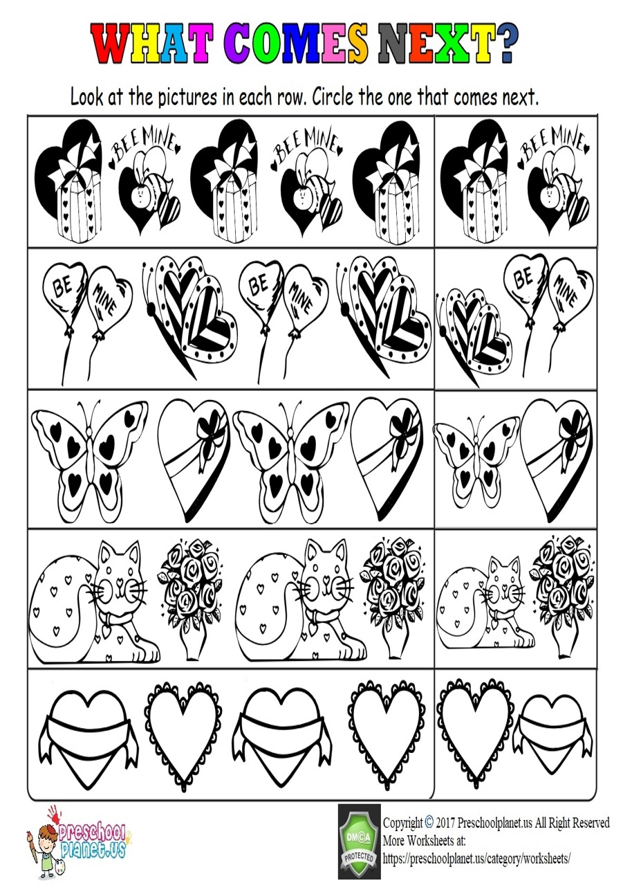 Valentine's Day Pattern Worksheet