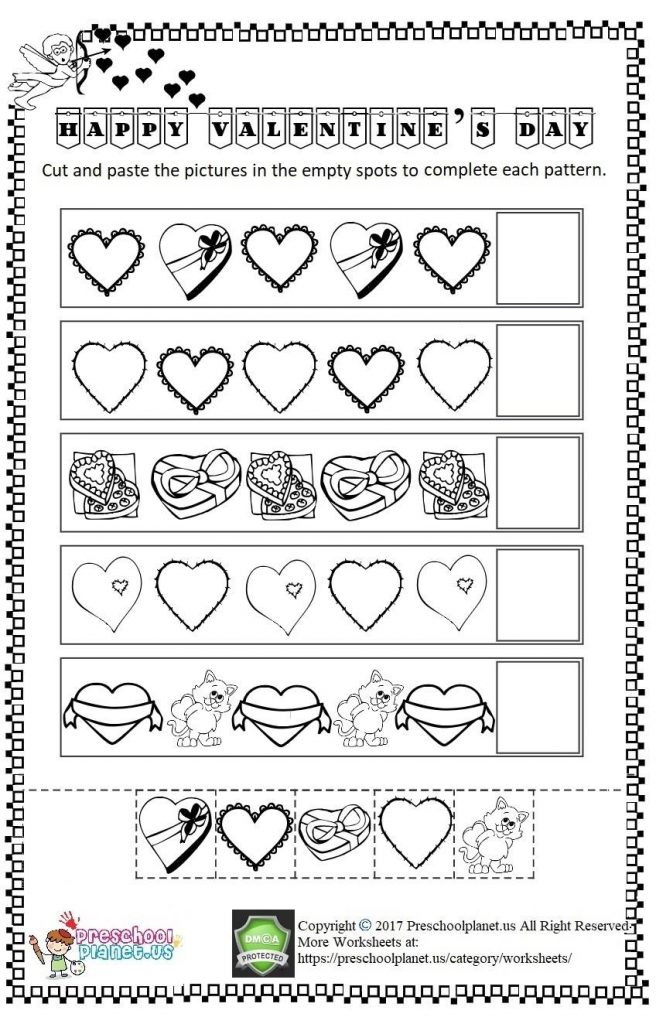 valentine's day cut and paste worksheet