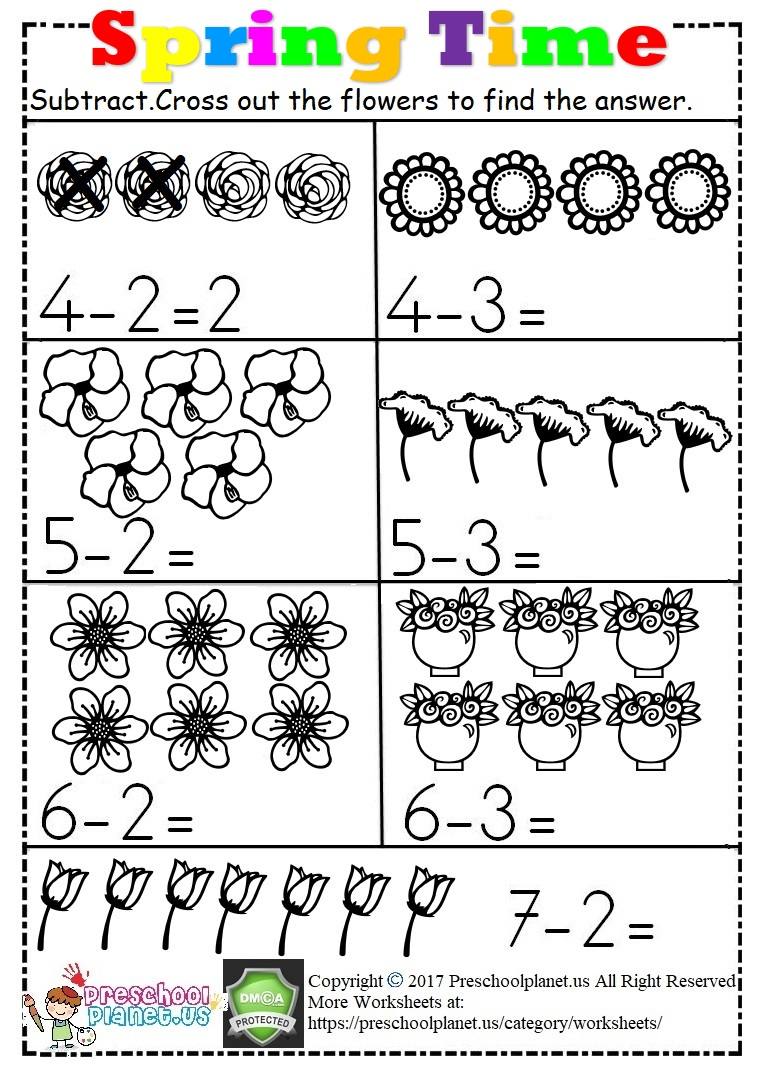 Spring Subtraction Worksheet For Kids
