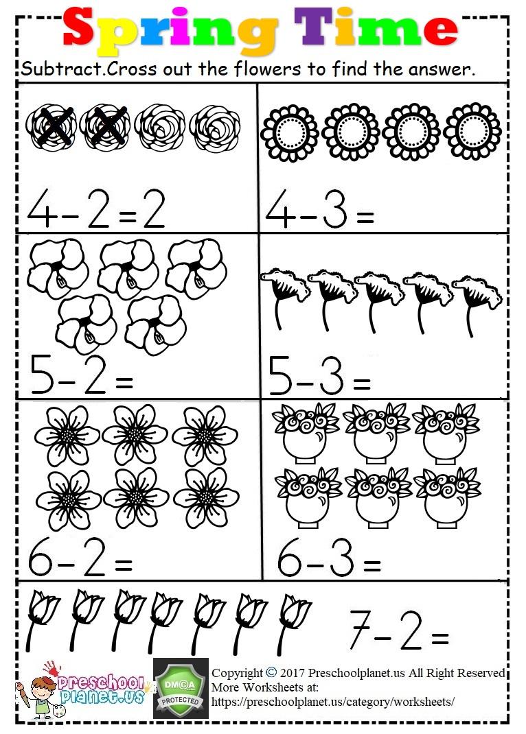 Spring Subtraction Worksheet For Kids