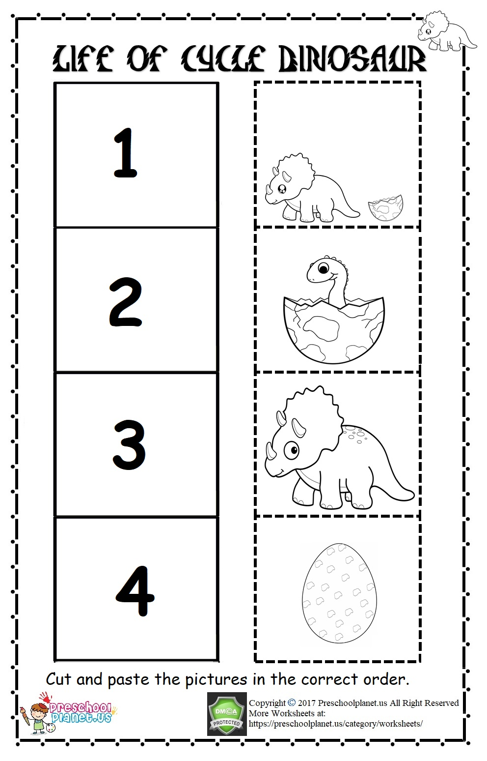 life of cycle dinosaur worksheet