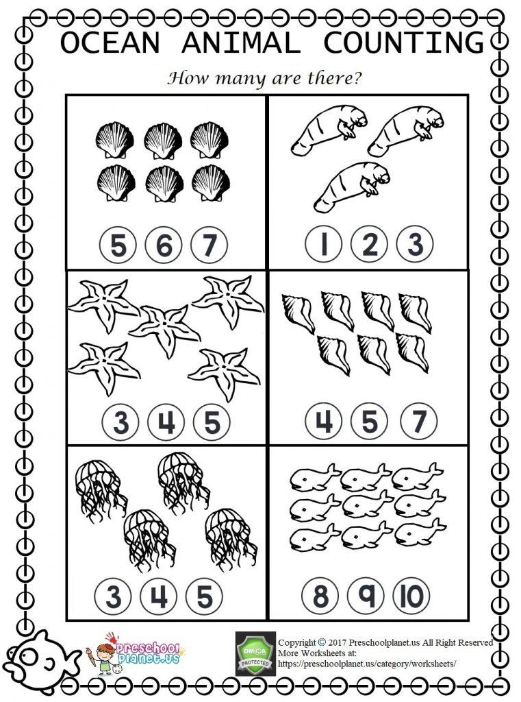 sea animal counting worksheet