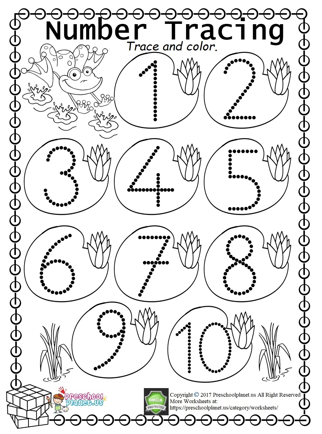 Easy Number Trace Worksheet (1-10)
