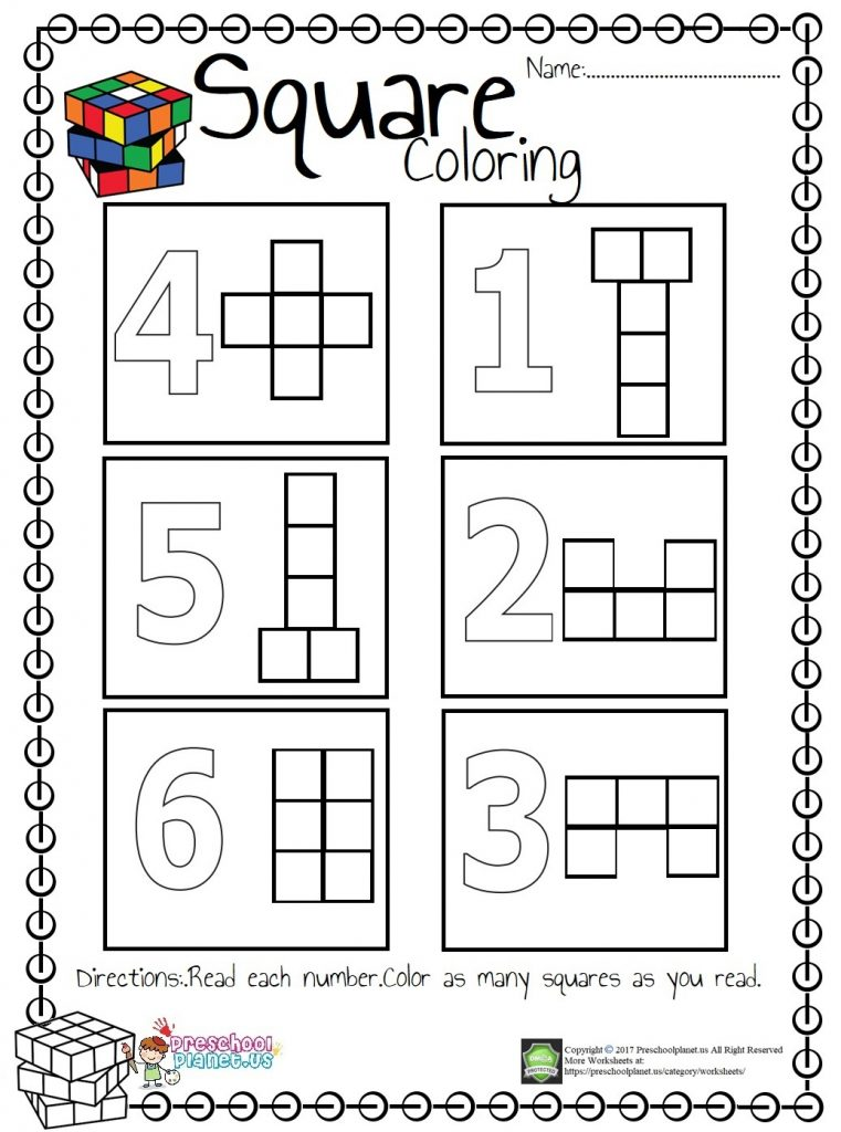 Square Count And Color Worksheet