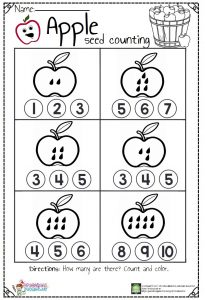 apple seed counting worksheet