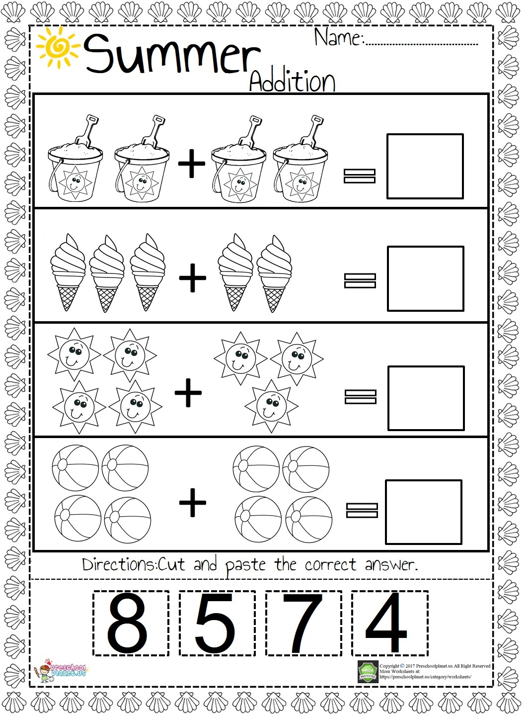 Summer Addition Worksheet