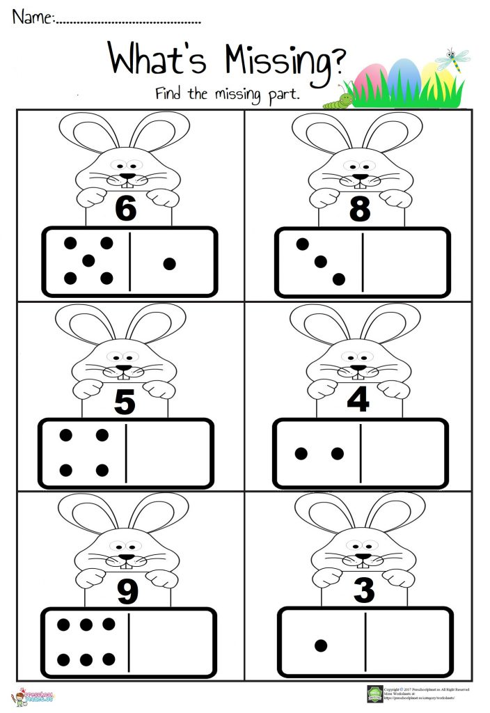 Easter themed domino Math Worksheet