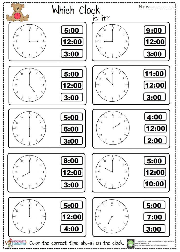 telling time worksheet for kindergarten and first graders