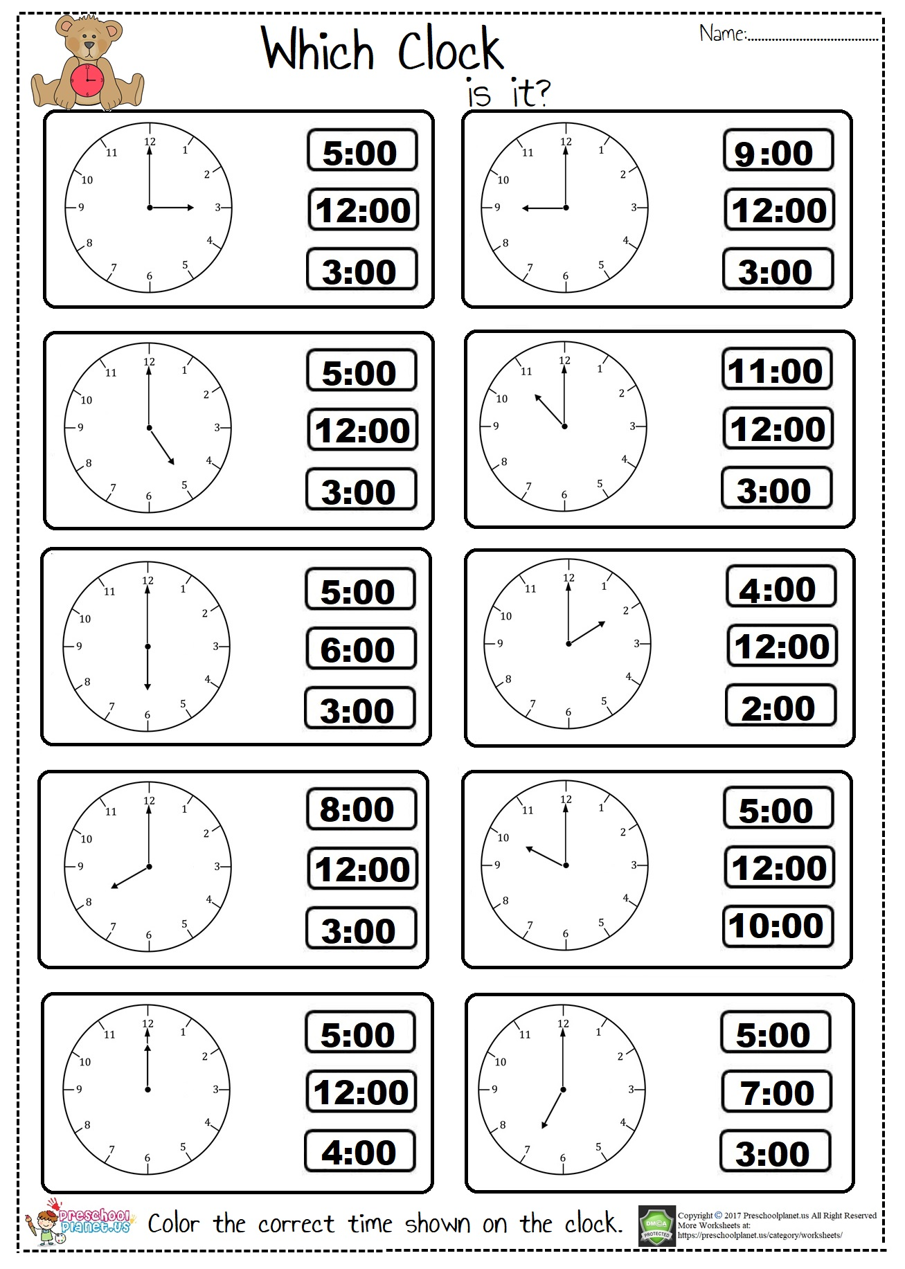 tell the time worksheet