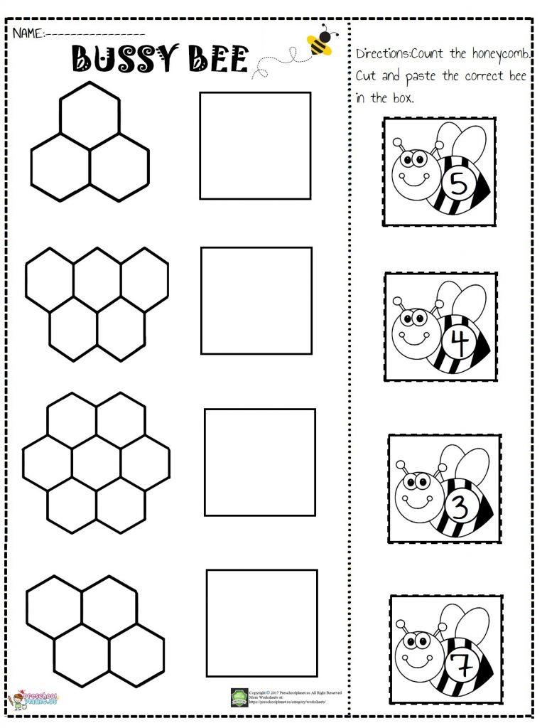 Bee Number Cut And Paste Worksheet Preschoolplanet