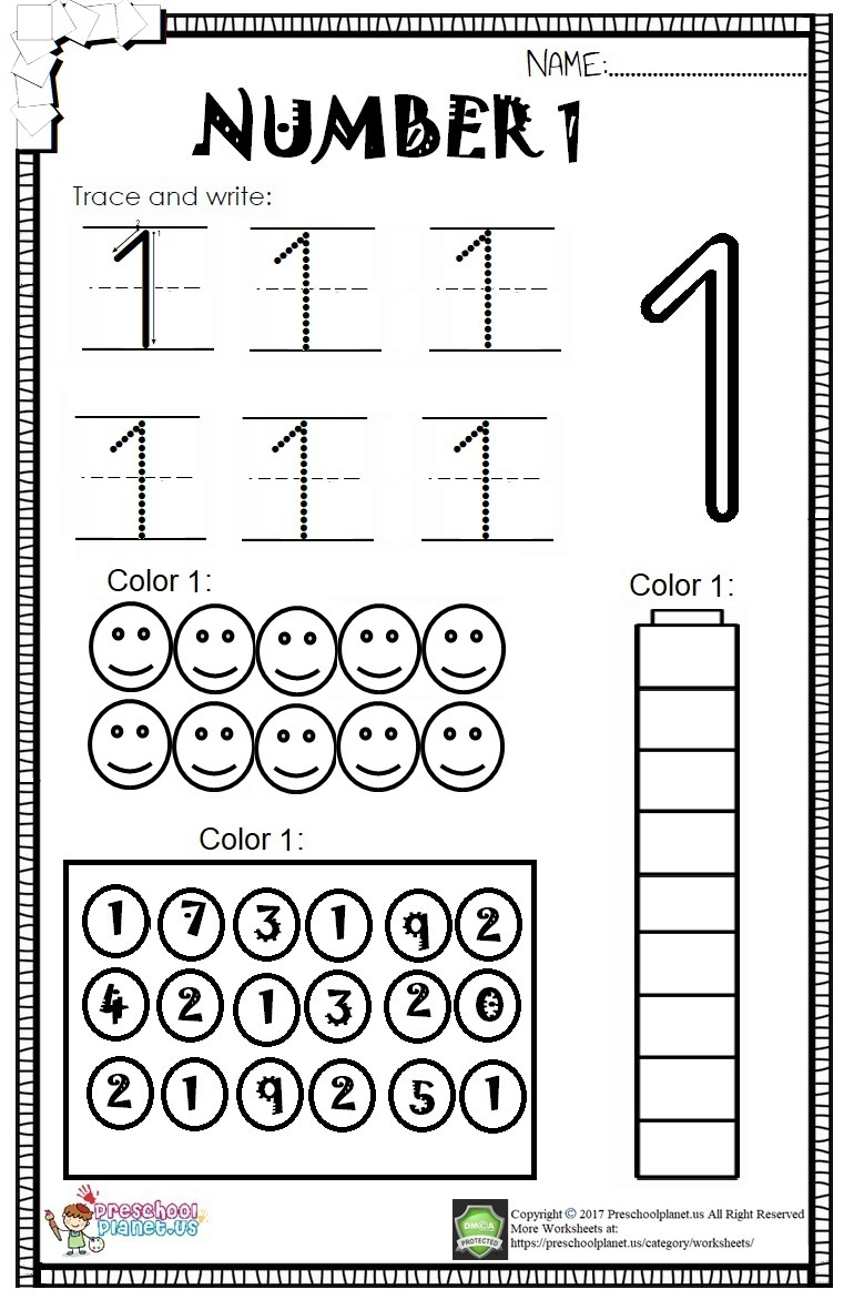 Number-1-Worksheet-For-Kids
