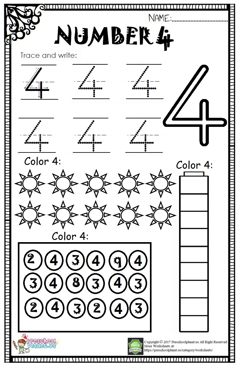 Number 4 Worksheet For Kids   Preschoolplanet