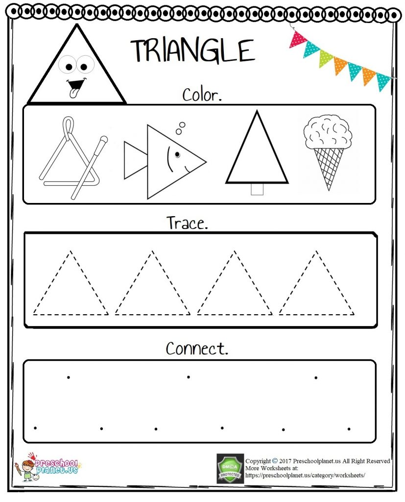 Triangle Worksheet For Preschool - Preschoolplanet