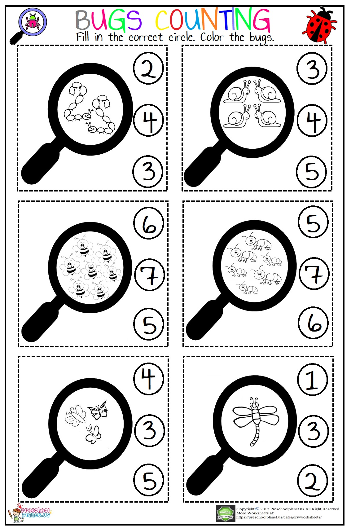 Bugs Counting Worksheet
