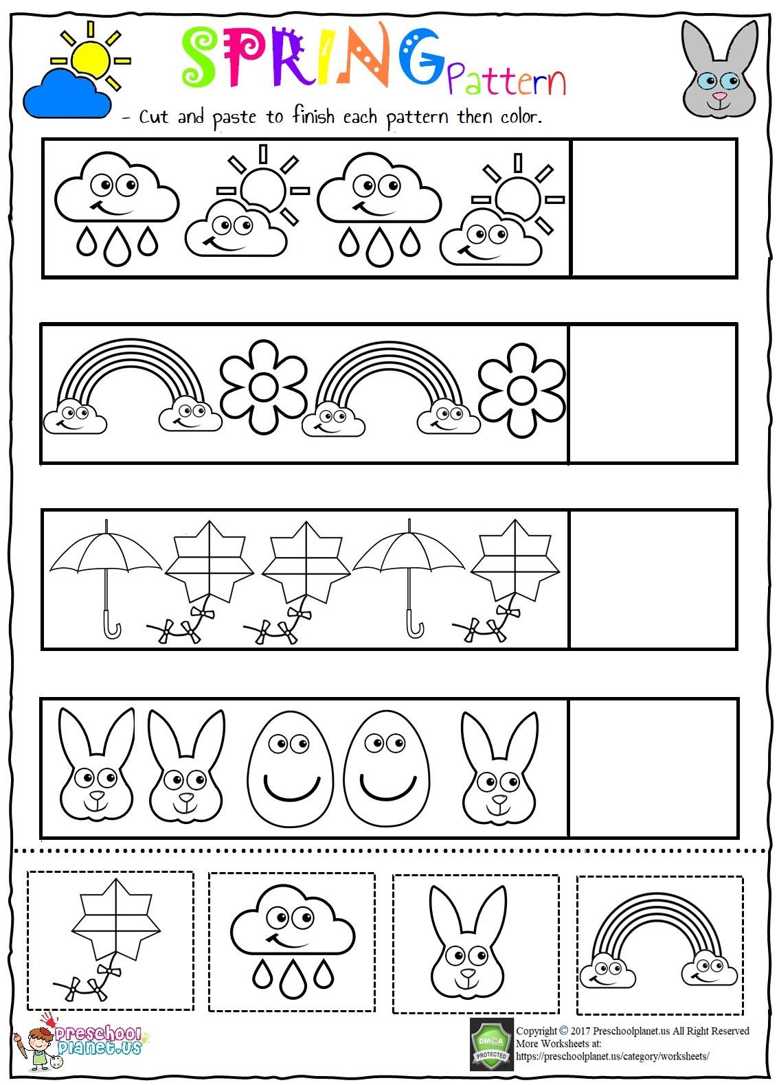 Valentine's day pattern worksheet for kids - Preschoolplanet