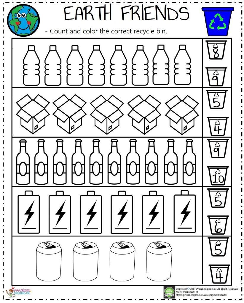 Recycle Count Worksheet Preschoolplanet - Get Recycling Worksheets For Kindergarten Free Pictures