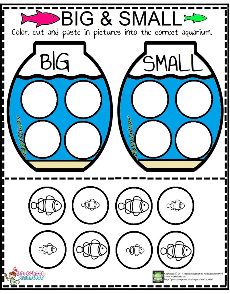 Printable big or small worksheet